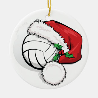 Happy Holiday Volleyball Christmas Round Ceramic Ornament