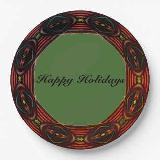 Happy Holiday Wreath Green Paper Plate