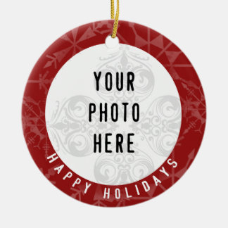 Happy Holidays 2 Photo Red Snowflake Ceramic Ornament