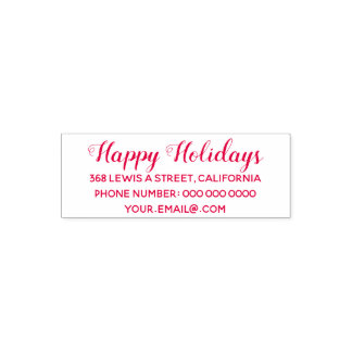 happy holidays address information red (optional) self-inking stamp