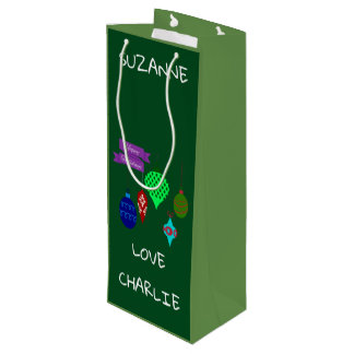 Happy Holidays and Hanging Ornaments Personalized Wine Gift Bag