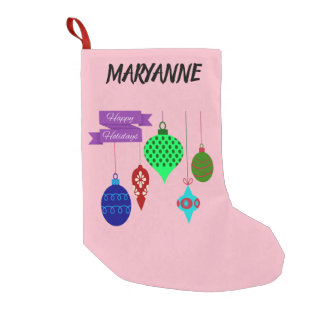 Happy Holidays and Hanging Ornaments Small Christmas Stocking