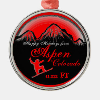 Happy Holidays Aspen Colorado snowboard ornament