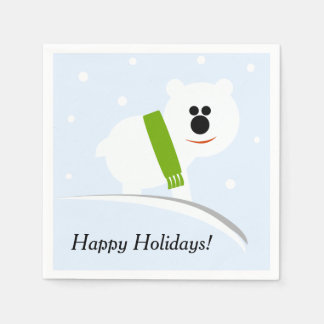 Happy Holidays Baby Polar Bear Paper Napkins