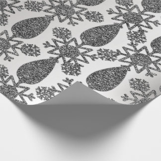 Happy Holidays Black Silver Glitter Christmas Snow Wrapping Paper