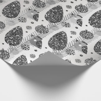 Happy Holidays Black Silver Glitter Christmas Tree Wrapping Paper