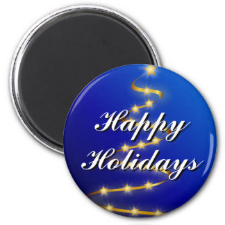 Happy Holidays Blue, Gold Christmas Tree Magnet