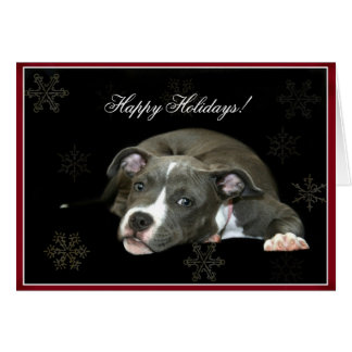 Happy Holidays Blue Pitbull puppy Greeting Card