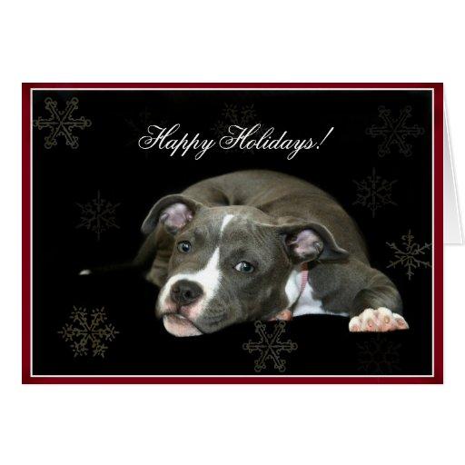 Happy Holidays Blue Pitbull puppy Greeting Card