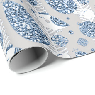 Happy Holidays Blue  Silver Glitter White Ball Dec Wrapping Paper