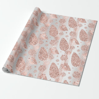 Happy Holidays Blush Gray Glitter Christmas Bird Wrapping Paper