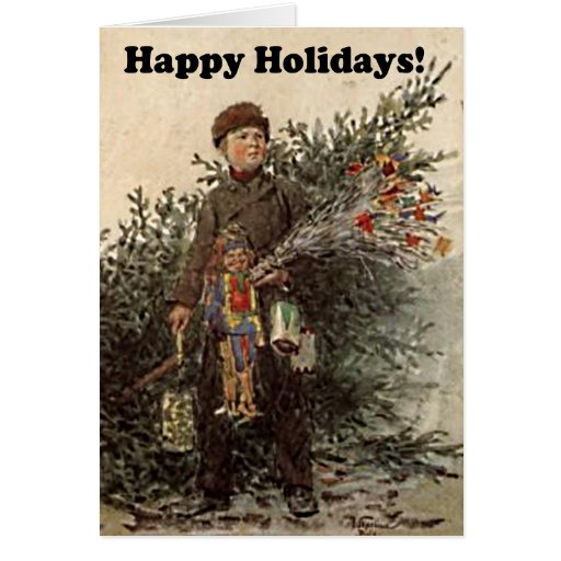 Happy Holidays Boy Christmas Tree Vintage Drawing Greeting Cards