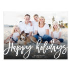 Happy Holidays Brush Script Photo Holiday Postcard