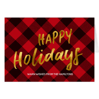 Happy Holidays Buffalo Red Plaid and Gold Foil Card