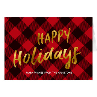 Happy Holidays Buffalo Red Plaid & Gold Christmas Card