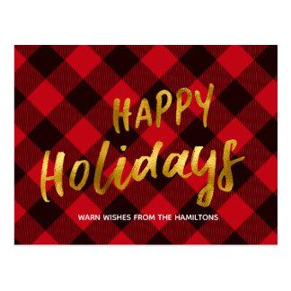 Happy Holidays Buffalo Red Plaid Gold Christmas Postcard