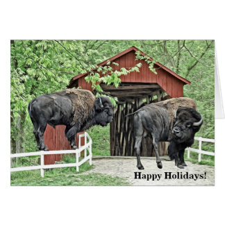Happy Holidays Bull Bison At The Covered Bridge Card