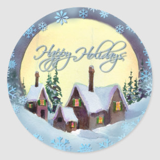 HAPPY HOLIDAYS by SHARON SHARPE Round Sticker