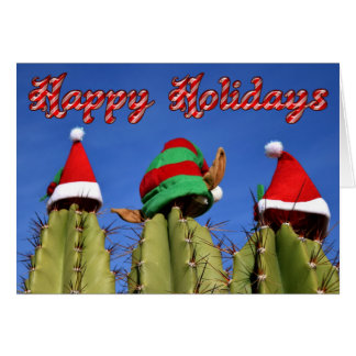 Happy Holidays Cactus Greeting Card