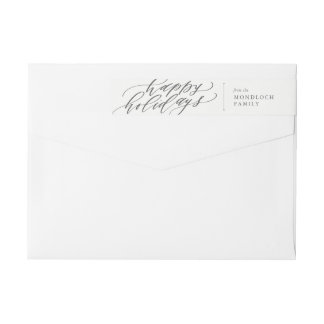 Happy Holidays Calligraphy Envelope Wrap Wrap Around Label