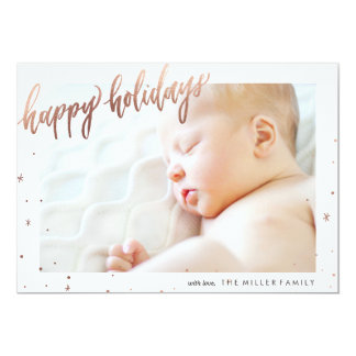 Happy Holidays Calligraphy Foil Photo Card