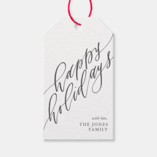 Happy Holidays Calligraphy Gift Tag