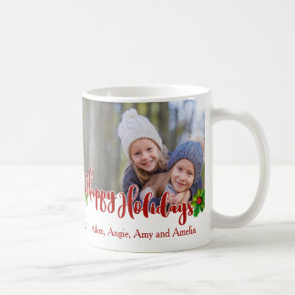 Happy Holidays Calligraphy | Holly | 2 Photo Coffee Mug