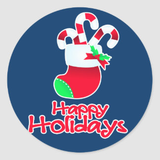Happy holidays candy boot blue stickers