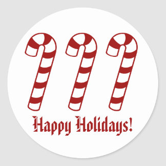 Happy Holidays Candy Cane Stickers