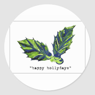 happy holidays card round stickers