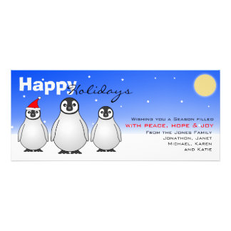 Happy Holidays Card w/ Baby Penguins Personalized Invitations