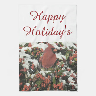 Happy Holiday's Cardinal Kitchen Towel