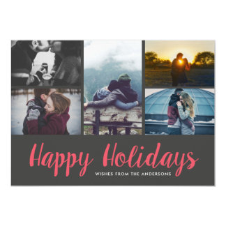Happy Holidays Casual Script Holiday Five Photo Card