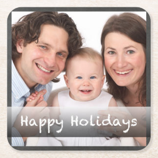 Happy Holidays Chalkboard Personalized with Photo Square Paper Coaster