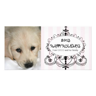 Happy Holidays Chandelier Dog Photo Card