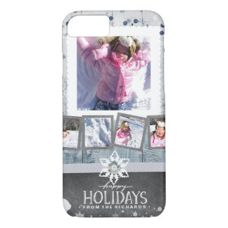 Happy Holidays Christmas 5 Photo Collage Winter iPhone 8/7 Case