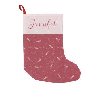 Happy Holidays | Christmas Foliage and Snow Cute Small Christmas Stocking