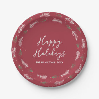 Happy Holidays | Christmas Foliage and Snow Paper Plate