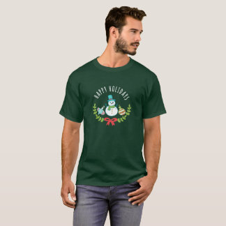 Happy Holidays Christmas Greeting Snowman T-Shirt