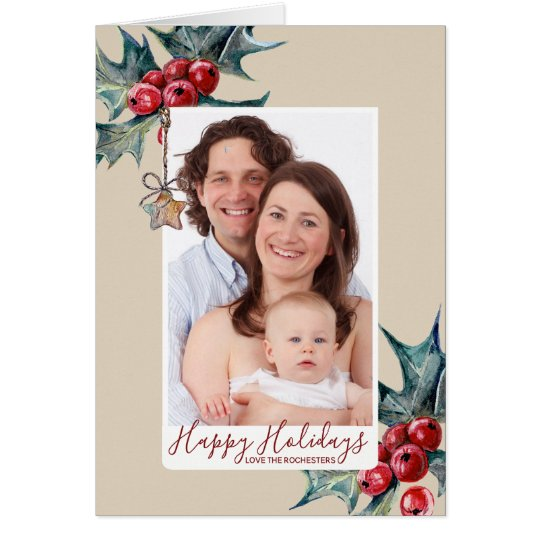 happy holidays christmas holiday photo card holly