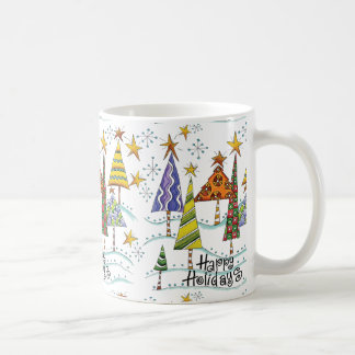 Happy Holidays Christmas Mug With Trees