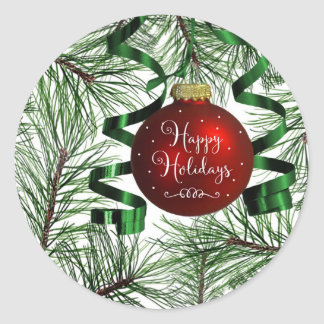 Happy Holidays Christmas Ornament Round Stickers