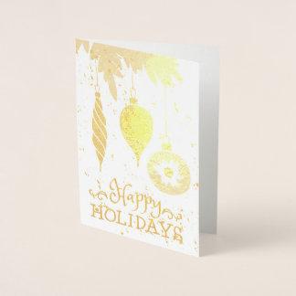 Happy Holidays Christmas Ornaments Decorative Foil Card
