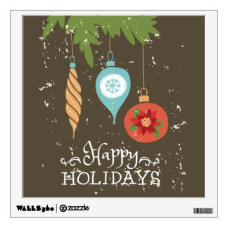 Happy Holidays Christmas Ornaments Decorative Wall Decal