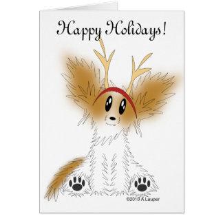 Happy Holidays Christmas Papillon Puppy Card