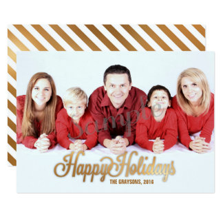 Happy Holidays Christmas Photo Card, Gold Overlay Card