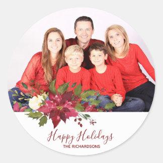 Happy holidays christmas photo sticker label holly