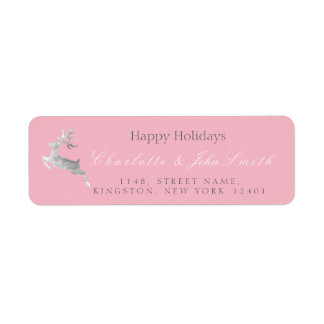 Happy Holidays Christmas Pink Rose Silver Deer1