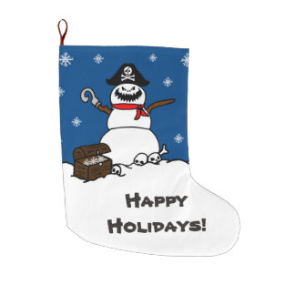 Happy Holidays Christmas Pirate Snowman Large Christmas Stocking