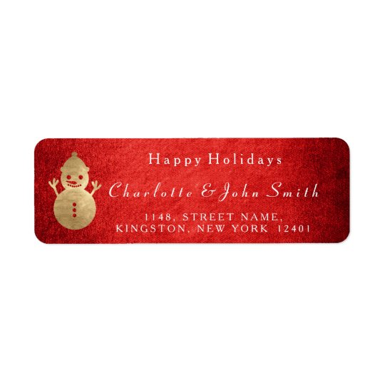 Happy Holidays Christmas Red Gold Snowman Return Address Label